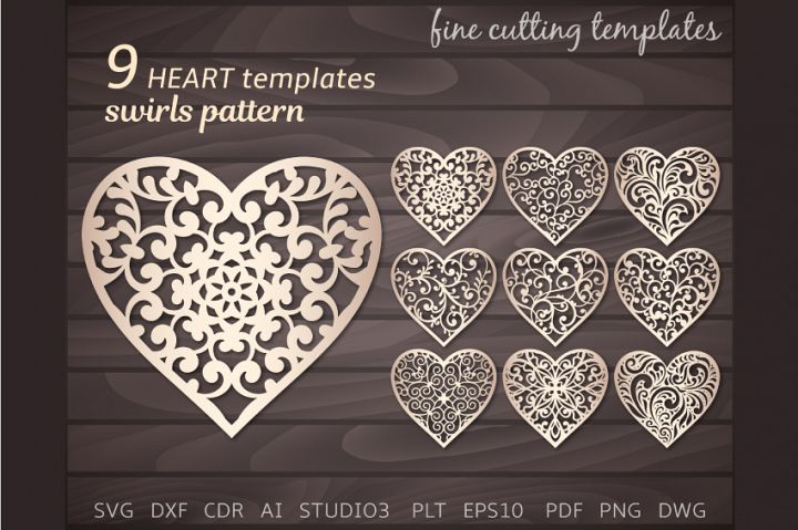 9 Lace Heart with swirls SVG cutting templates.
