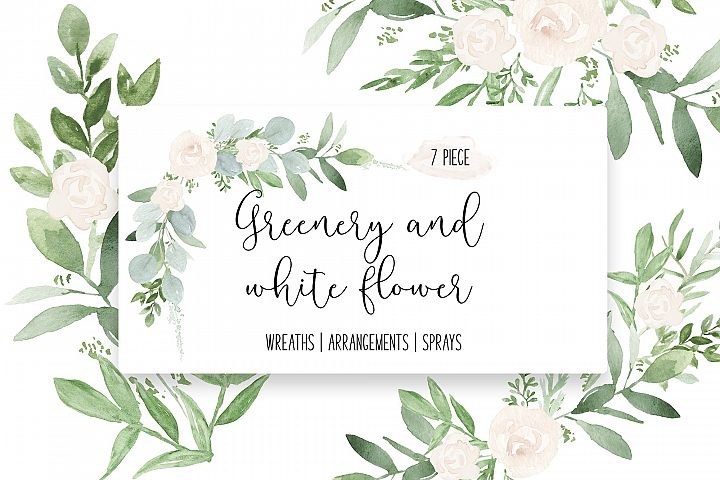 Greenery & White Flower Greenery Wedding watercolor clip art