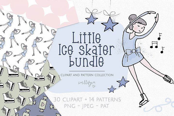 Winter clipart and pattern collection