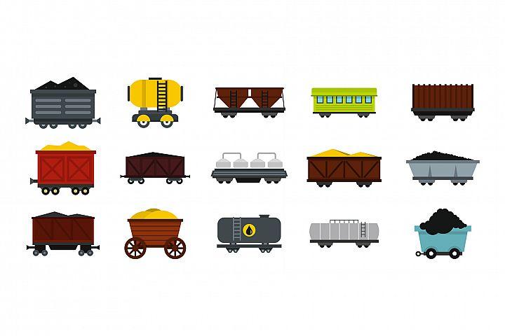 Wagon icon set, flat style