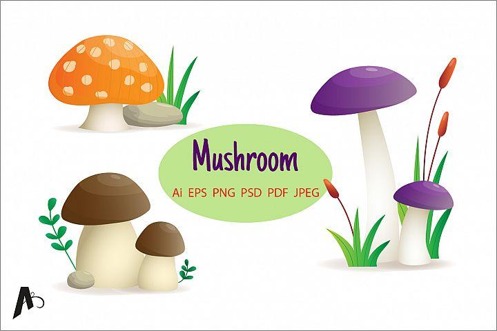 Mushroom set, different mushroom Illustration.