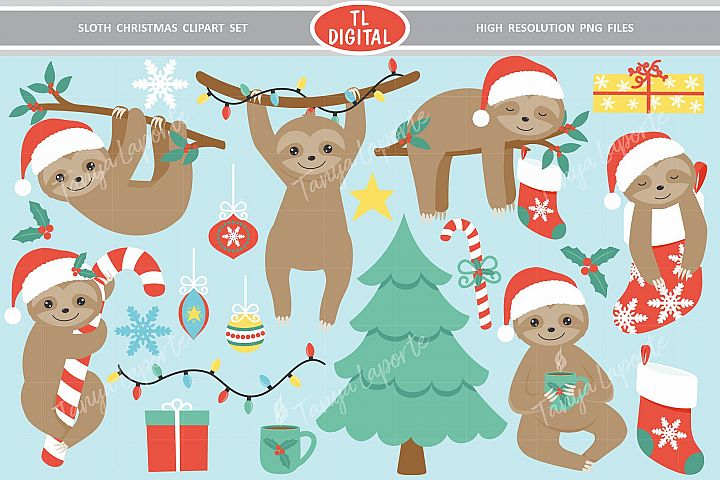 Sloth Christmas Clipart Set - 21 Christmas Graphics