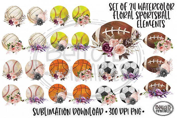 Floral Sports balls Sublimation, Sport Balls Elements Bundle