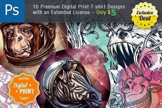 10 Super Premium Digital Print T-Shirt Designs