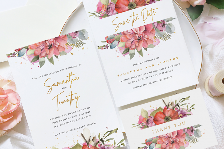 Gold Floral Wedding Suite Template