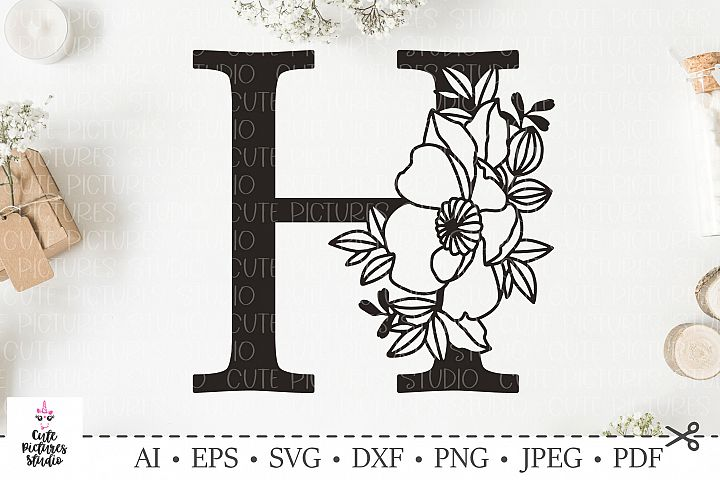 Botanical alphabet svg. Floral letter H svg. Bundle SVG, DXF