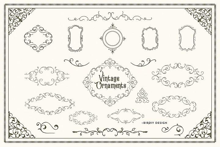 Vintage Ornaments, Frames & Borders