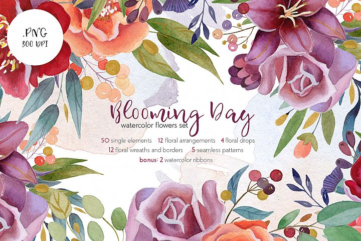 Blooming Day Watercolor Flowers Design Set