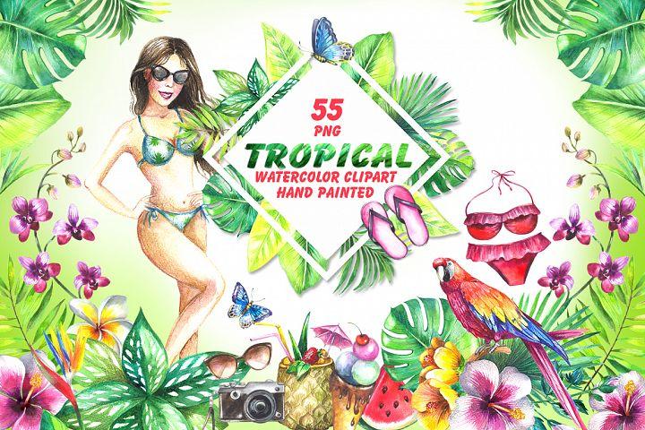Tropical watercolor clipart