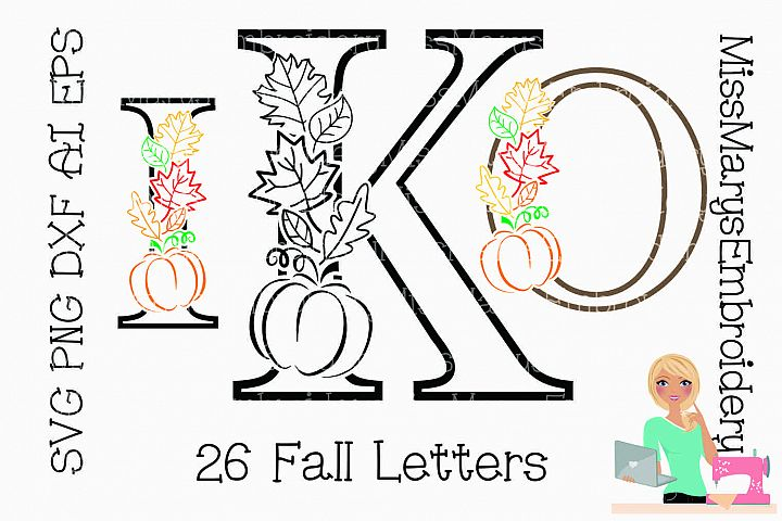 Fall Pumpkin Leaf Letters SVG Cutting File PNG DXF AI EPS