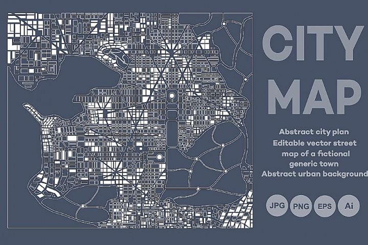 Abstract city map plan