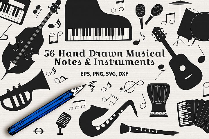 56 Hand Drawn Musical Instruments & Music Notes