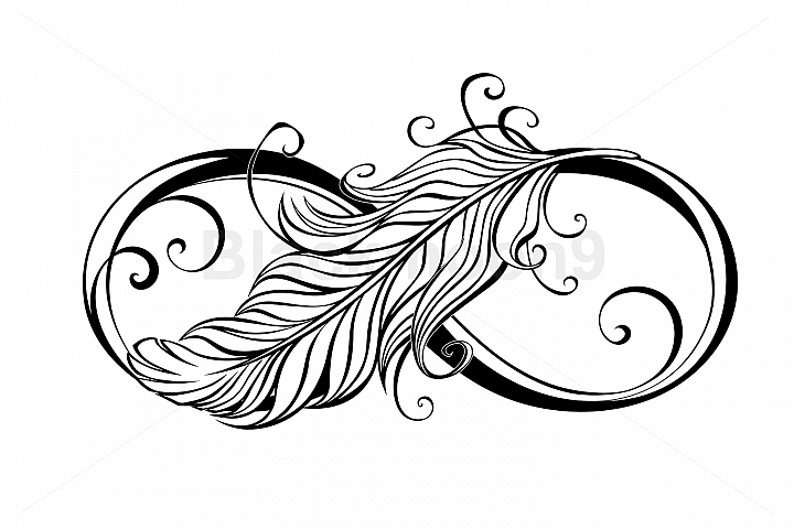 Infinity Symbol with Feather
