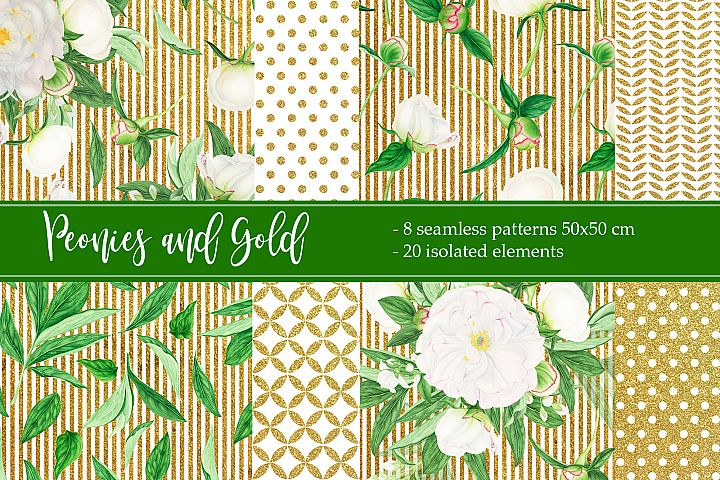 Watercolor White Peonies and Gold Texture Patterns