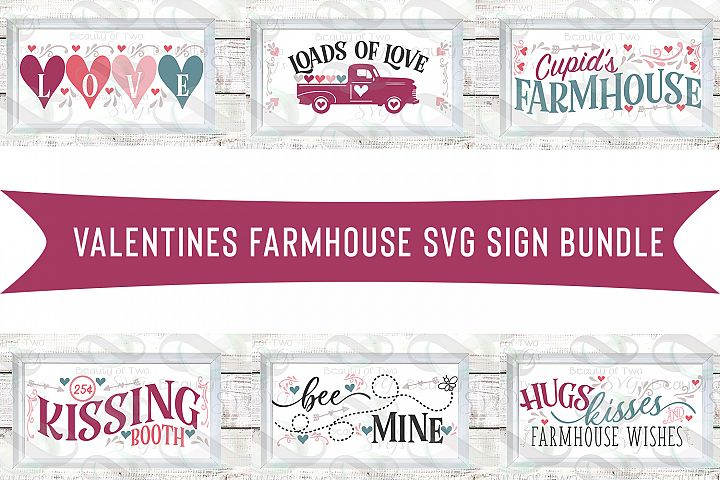 Farmhouse Valentines Svg Sign Bundle, 6 Valentine svgs