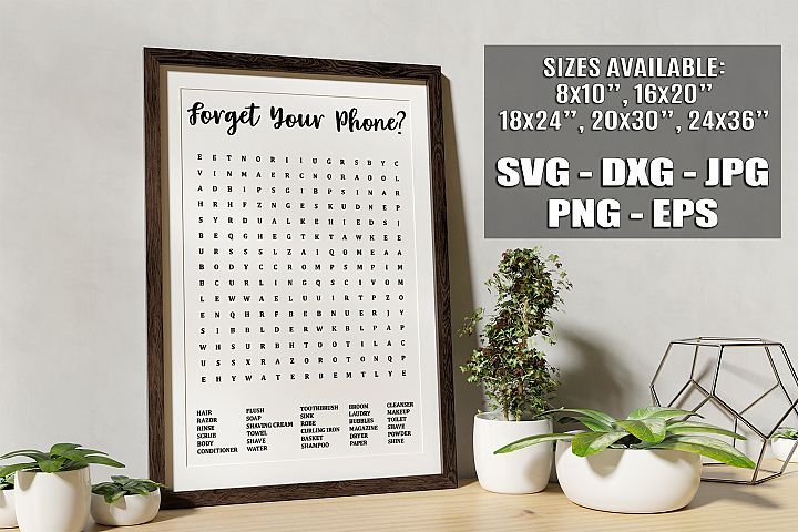 Forget Your Phone Funny Bathroom Word Search Game SVG PNG