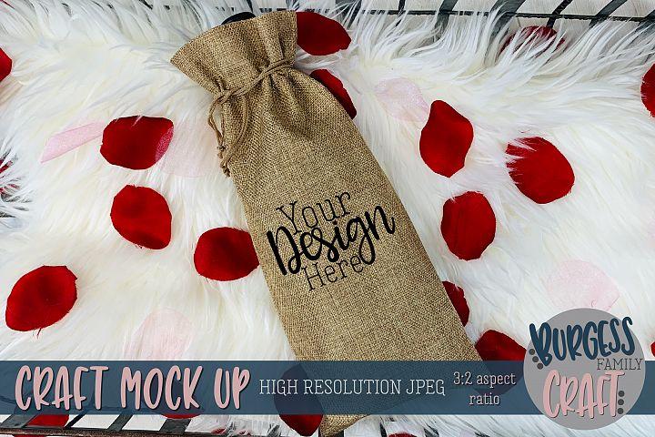Valentine wine gift bag Craft mock up