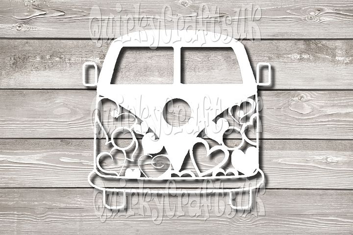 Campervan Hearts papercutting templates|PNG/PDF/SVG/DXF formats