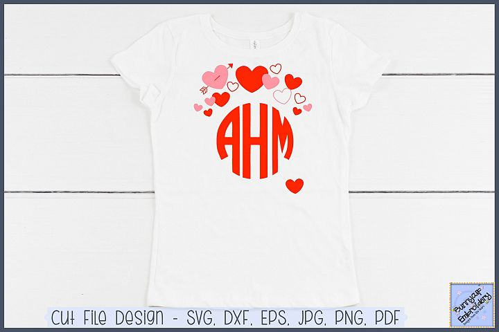 Hearts Monogram Topper - SVG and Clipart