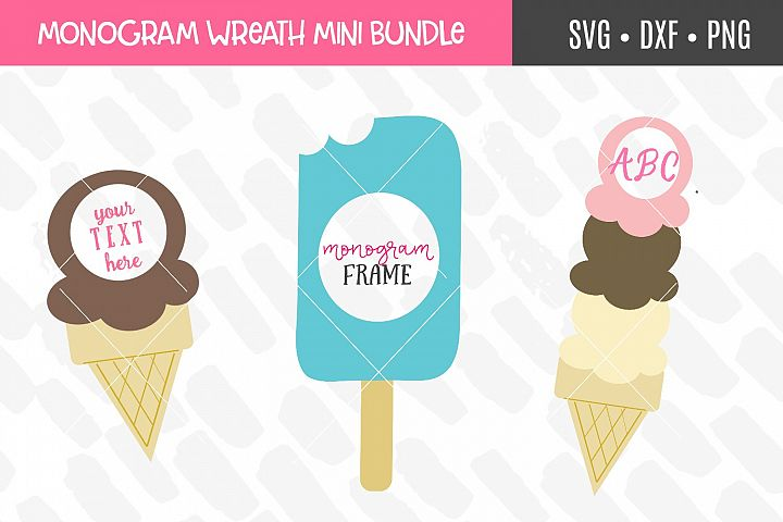 Icecream Monogram Frame SVG Bundle
