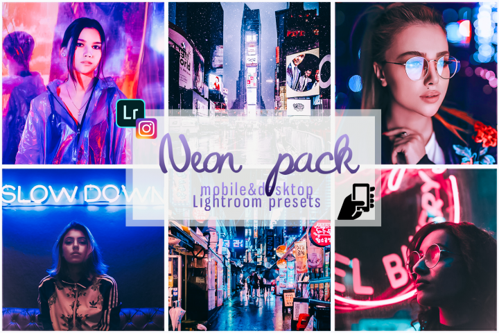 Neon preset lightroom mobile pc instagram effects filter