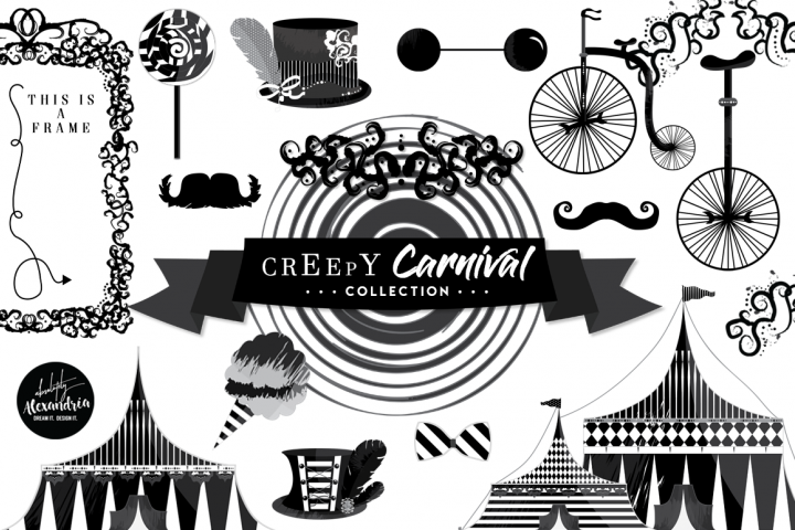 Creepy Carnival Clipart Graphics & Digital Paper Patterns Bundle