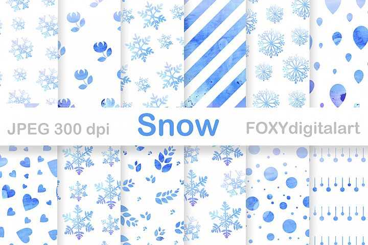 Digital paper christmas holiday winter snow flakes