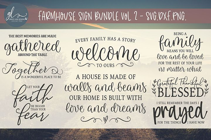 Farmhouse Sign Bundle Vol. 2 - SVG, DXF & PNG - 8 Designs