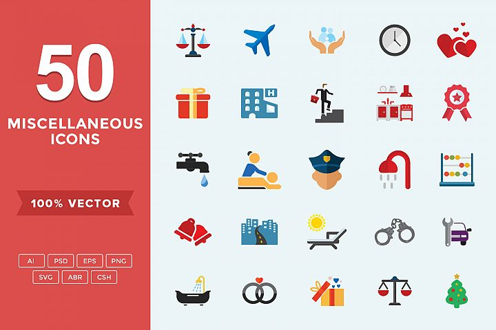 Flat Miscellaneous Icons Set