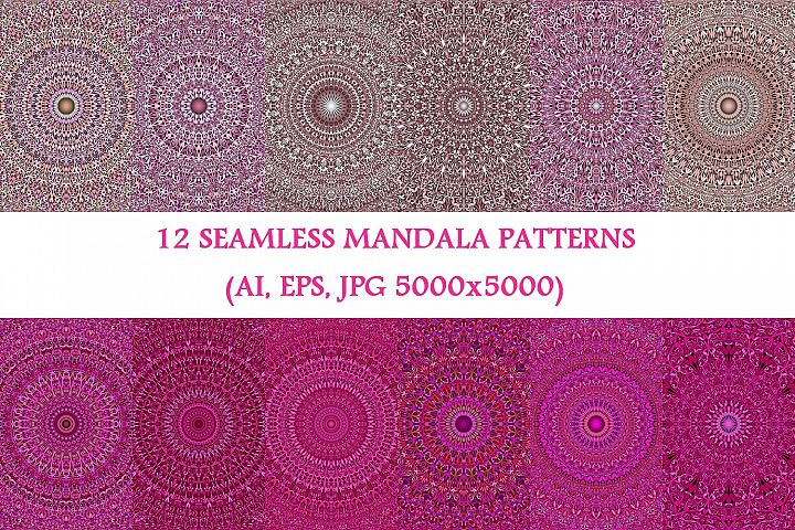 12 Pink Mandala Seamless Patterns - AI, EPS, JPG 5000x5000
