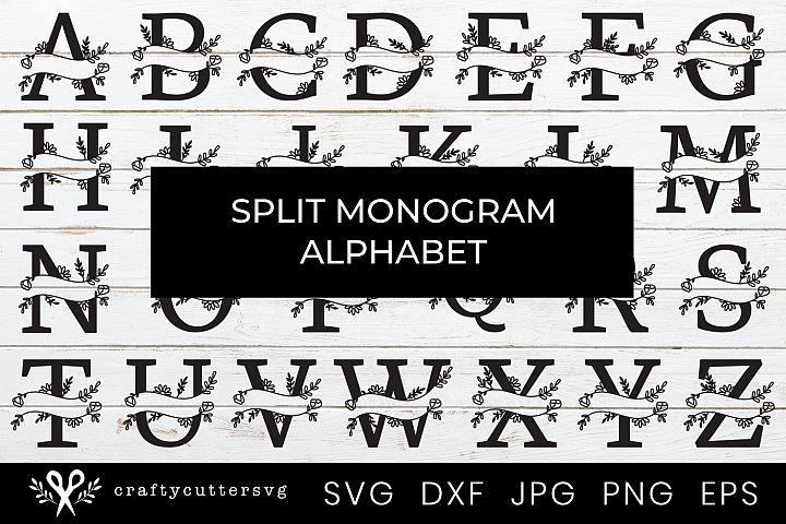 Split Monogram Bundle Monogram Letter Handdrawn Botanical