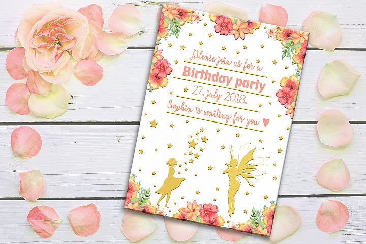 Birthday Card, Party Card, Invitation Card, Girls, SALE