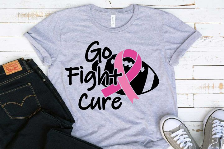 Go fight Cure Breast Cancer Cheer cheerleader football 1522s