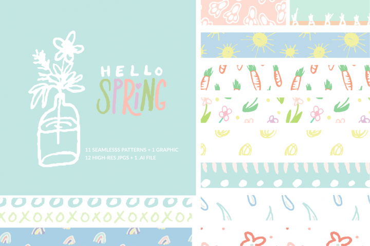 Hello Spring Seamless Patterns