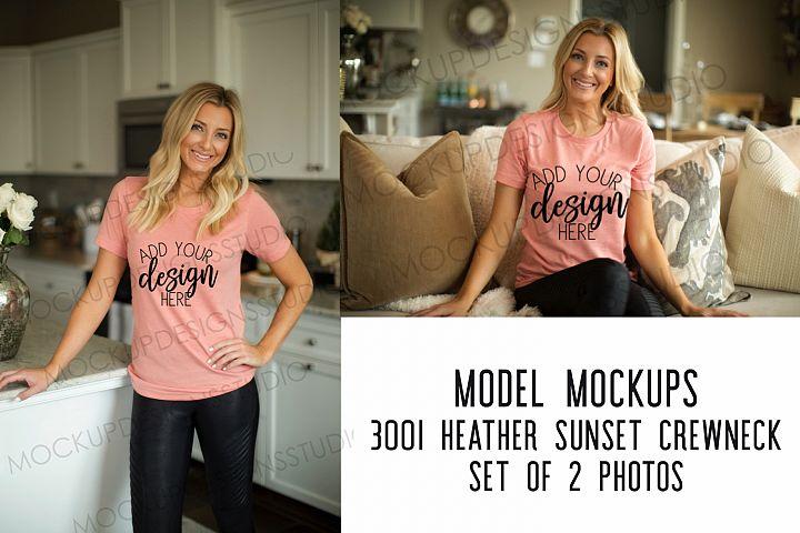 BELLA 3001 Heather Sunset CREWNECK MOCKUP - SET OF 2 IMAGES
