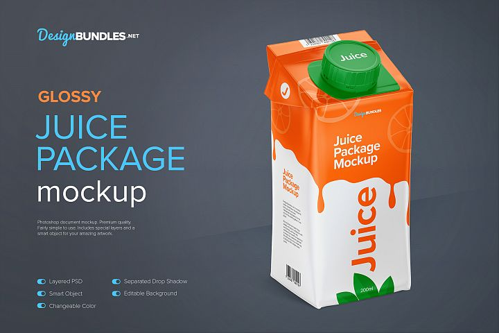 200ml Glossy Juice Carton Package Mockup - Halfside View