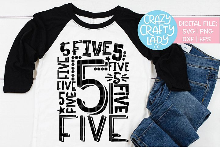 5th Birthday Collage Typography SVG DXF EPS PNG Cut File