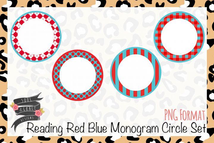 Reading Red Blue Monogram Circle Set