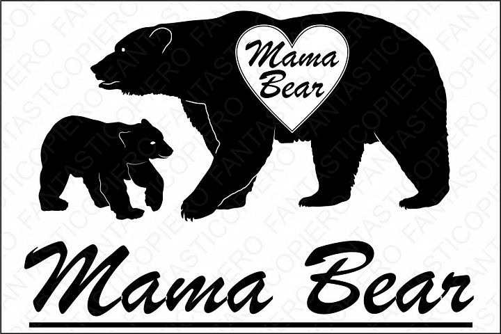 Mama Bear SVG files for Silhouette Cameo and Cricut. Mama Bear clipart PNG transparent included.