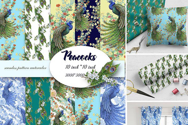 Seamless Pattern Peacocks
