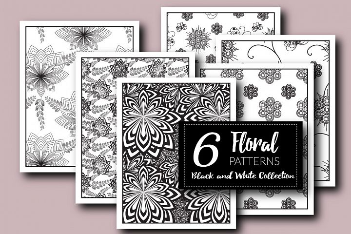 Floral Patterns, Black and white collection EPS + JPG
