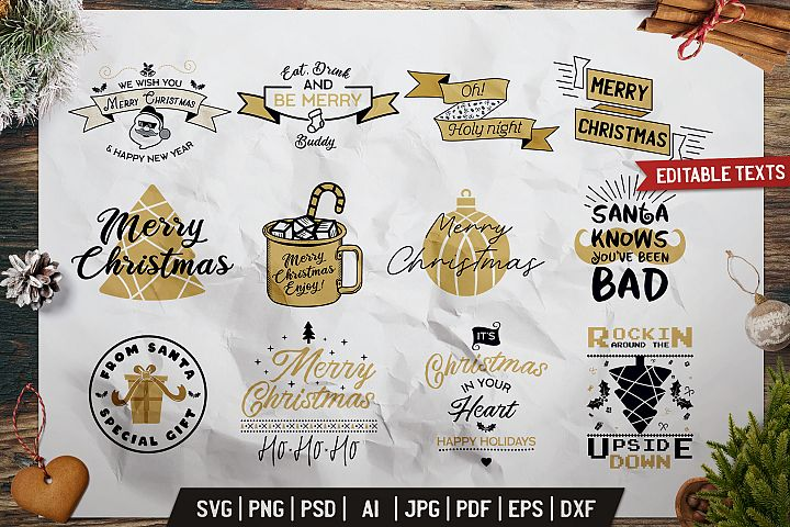 Christmas Prints Design Bundle. Vector Xmas TShirt, SVG Tees