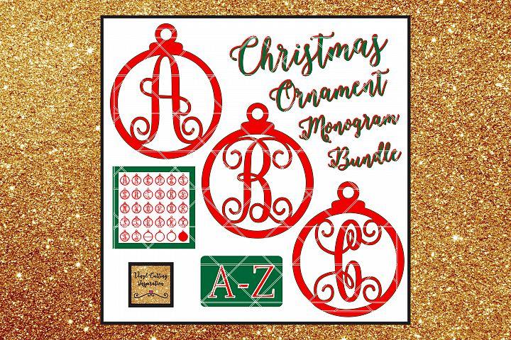Christmas Svg, Christmas Ornament Svg, Monogram Bundle Svg