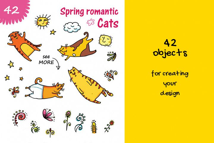 Spring Cats - 42 objects example 1