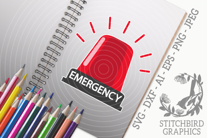 Emergency Light SVG, Silhouette Studio, Cricut, Eps, Dxf