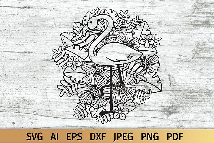 Flamingo Floral SVG