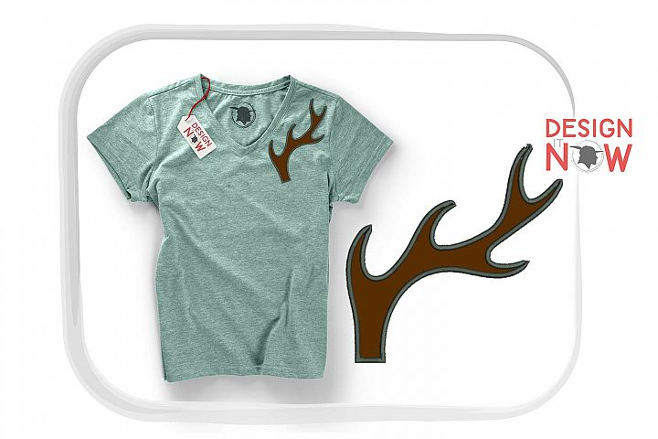 Deer Applique Embroidery Design, Antlers Reindeer Embroidery