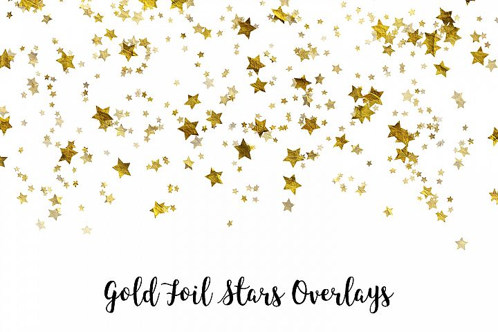 Gold Foil Stars Overlays, Gold Stars Confetti