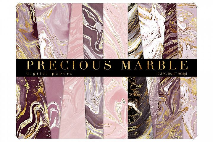Burgundy Marbled Papers - Gold Veins Marble