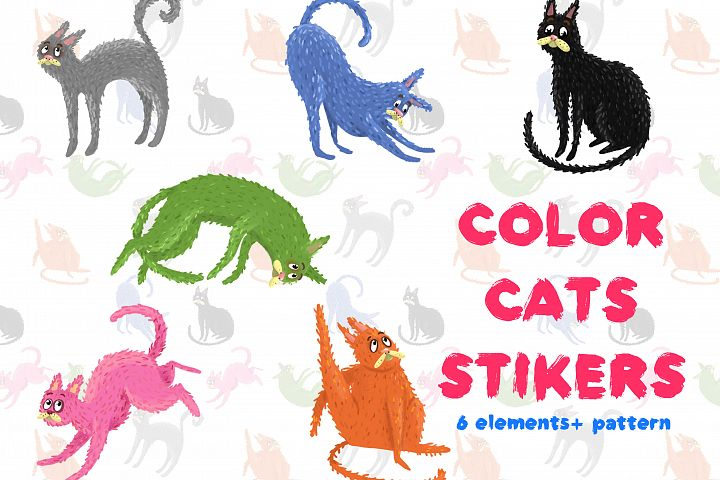Color cats stikers+ Pattern